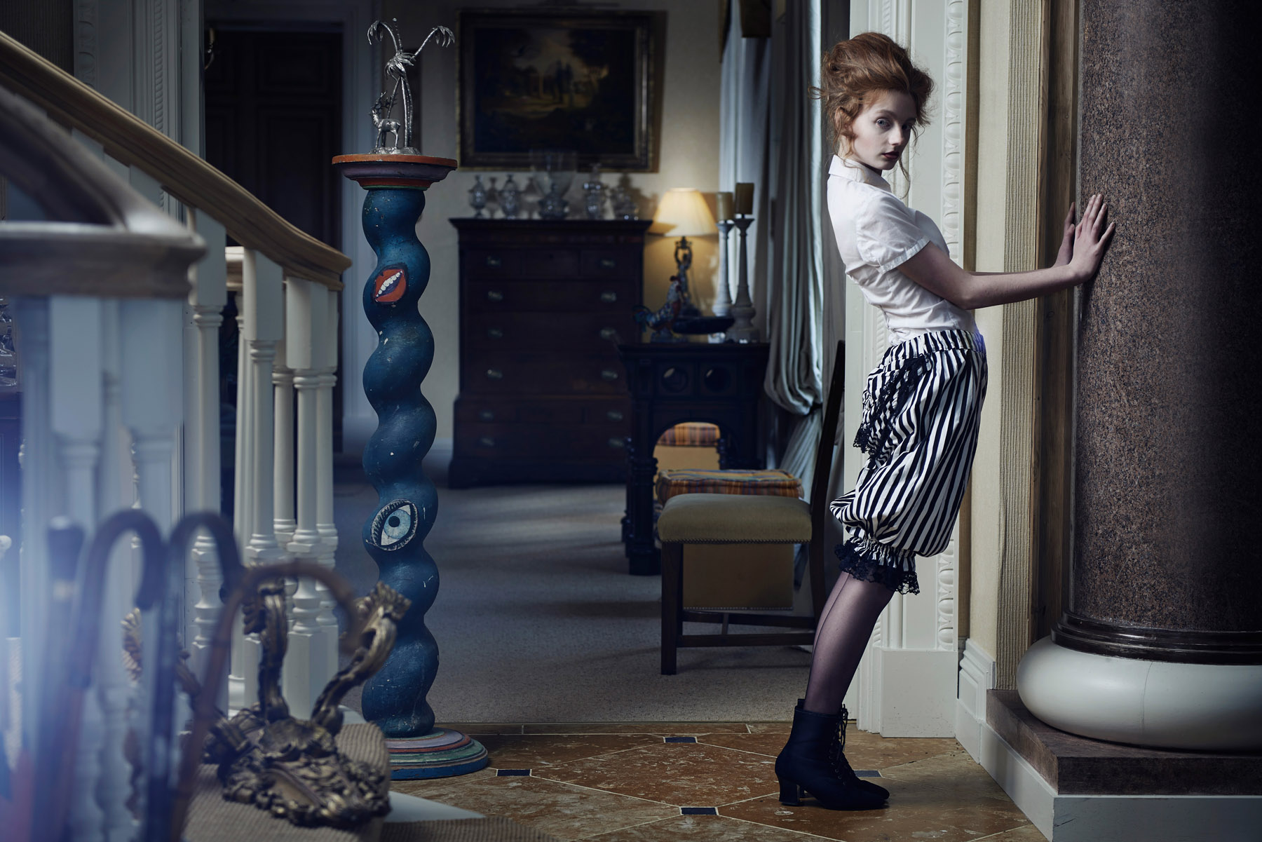 Fashion shoot in a house full of antiques