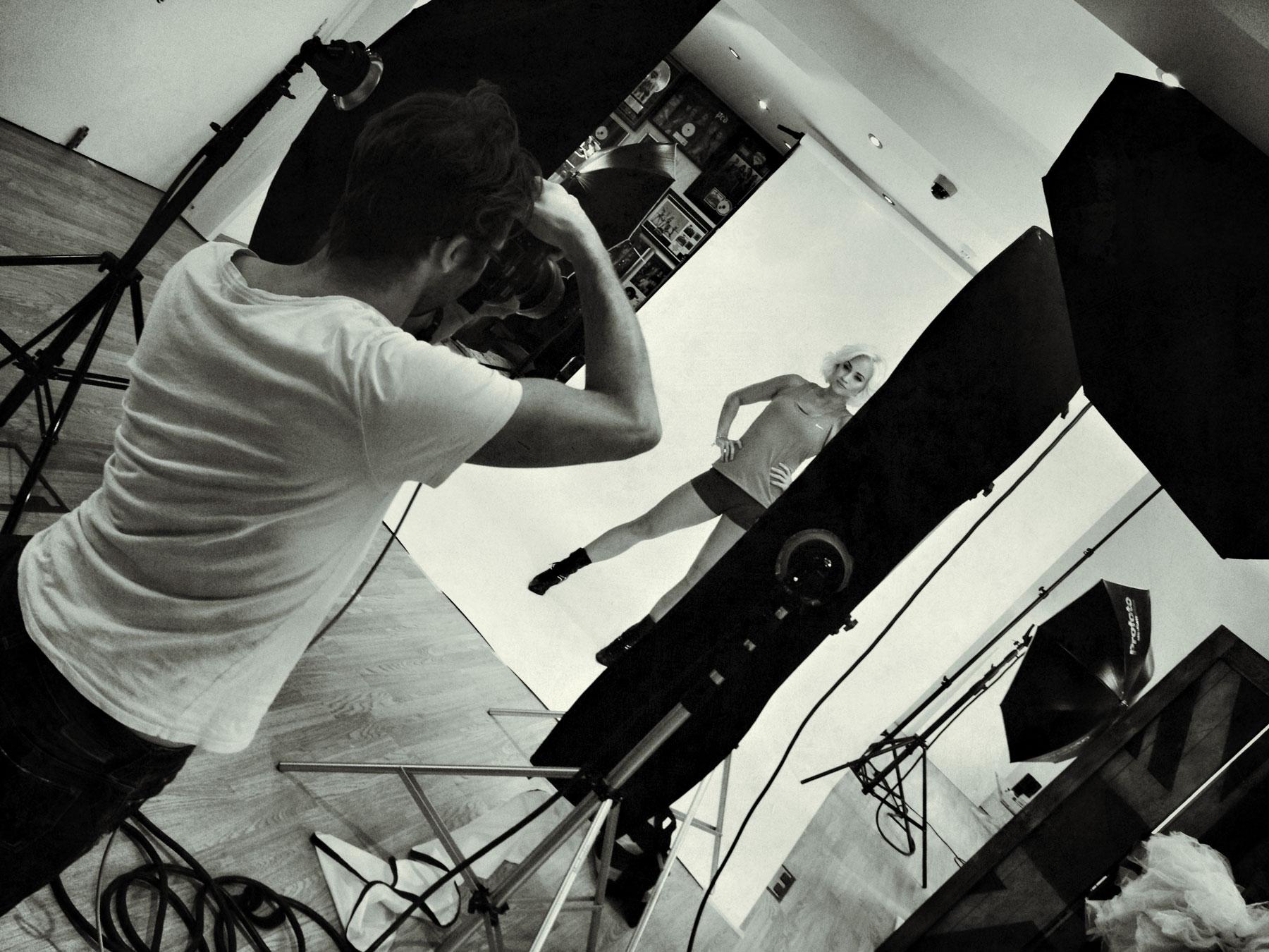 Behind the scenes on a Kimberly Wyatt photoshoot