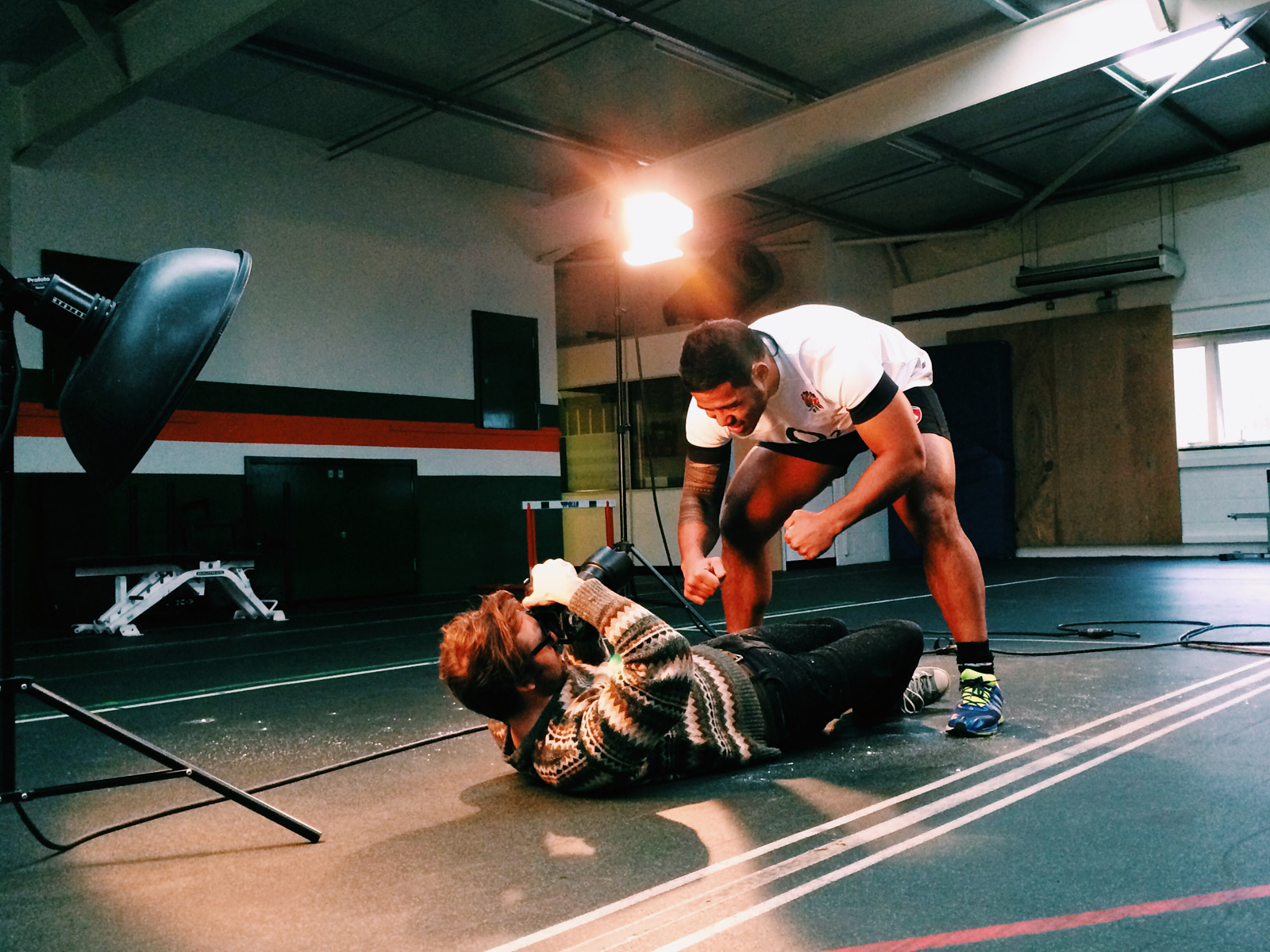 Behind the scenes shot showing the setup for our shoot with Manu Tuilagi