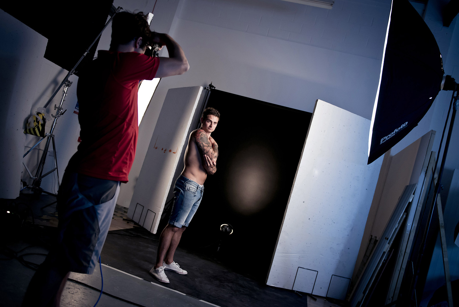 Behind the scenes showing our tattoo photoshoot setup