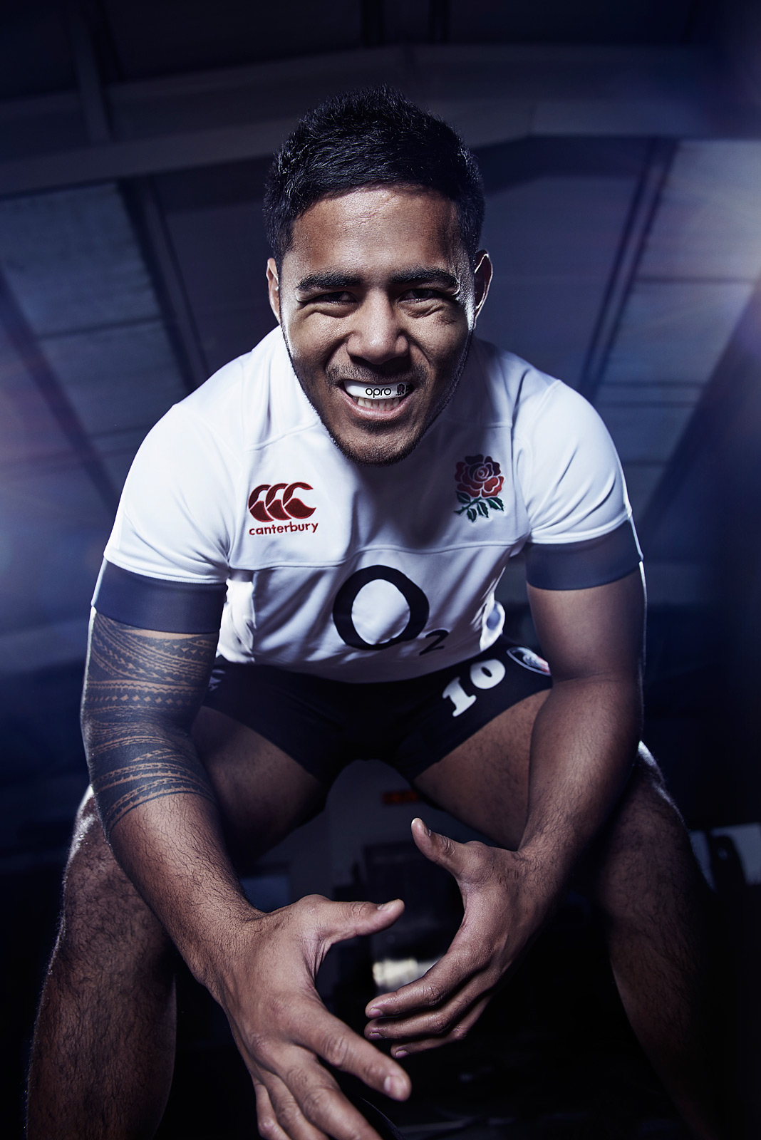 Manu Tuilagi leaning over the camera