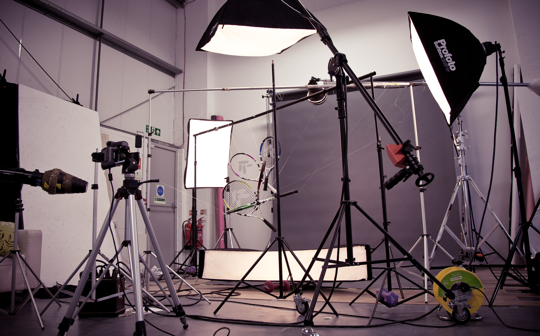 Behind the scenes showing the lighting setup for our tennis racket shoot