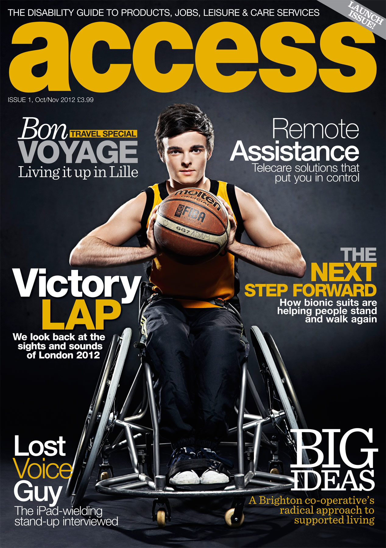 Cover of the launch issue of Access magazine featuring our image