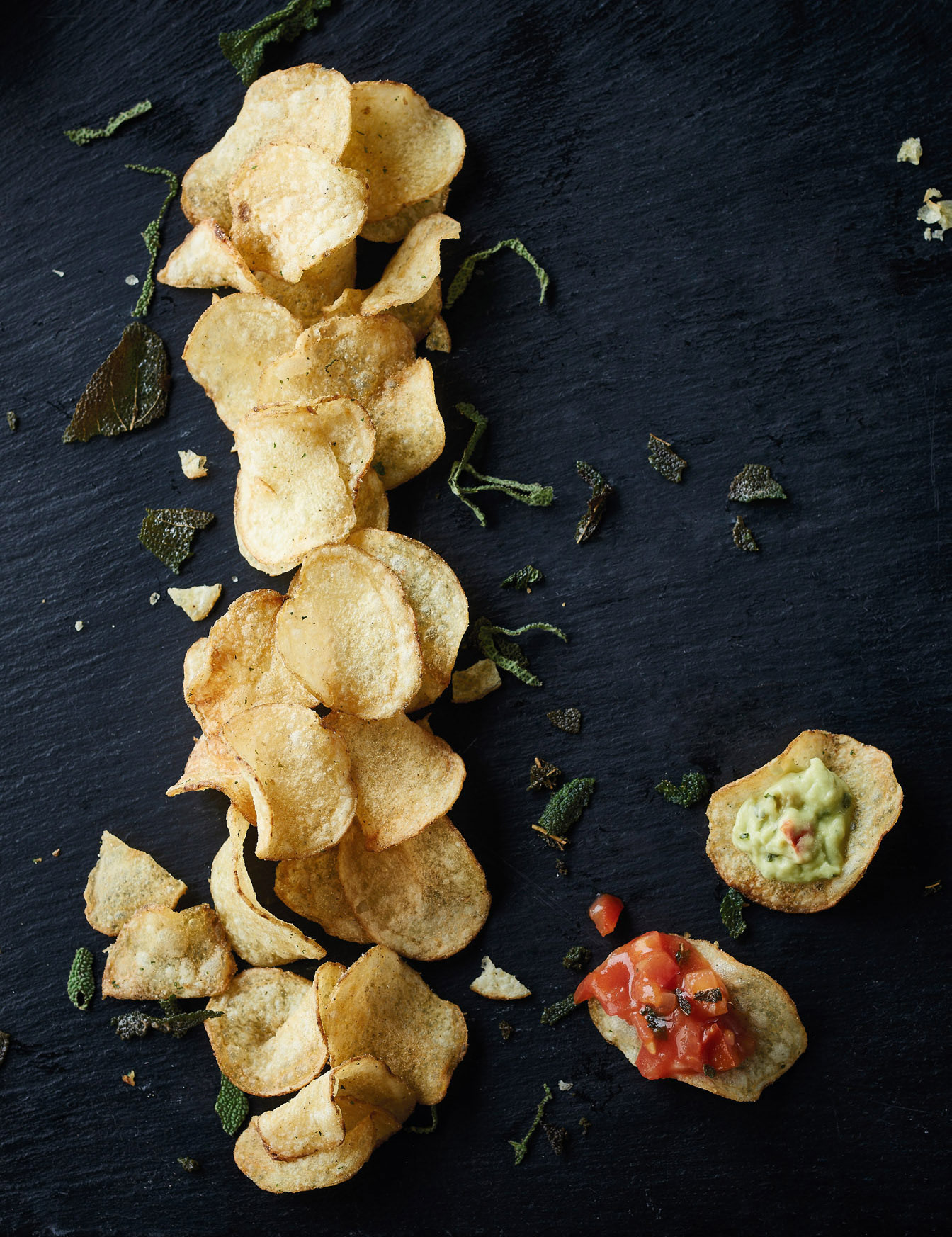 Fairfields crisps on black slate