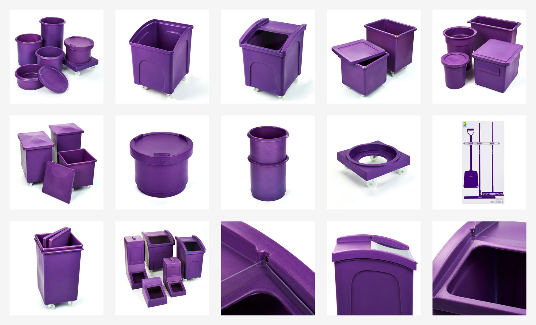 A series of purple products on a white background