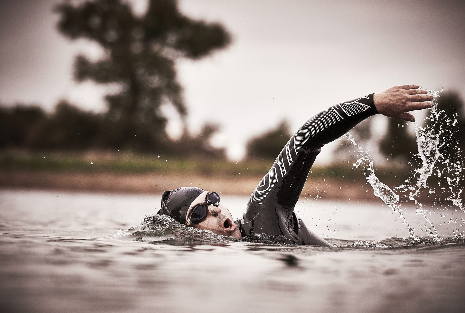 Swimming freestyle in open water
