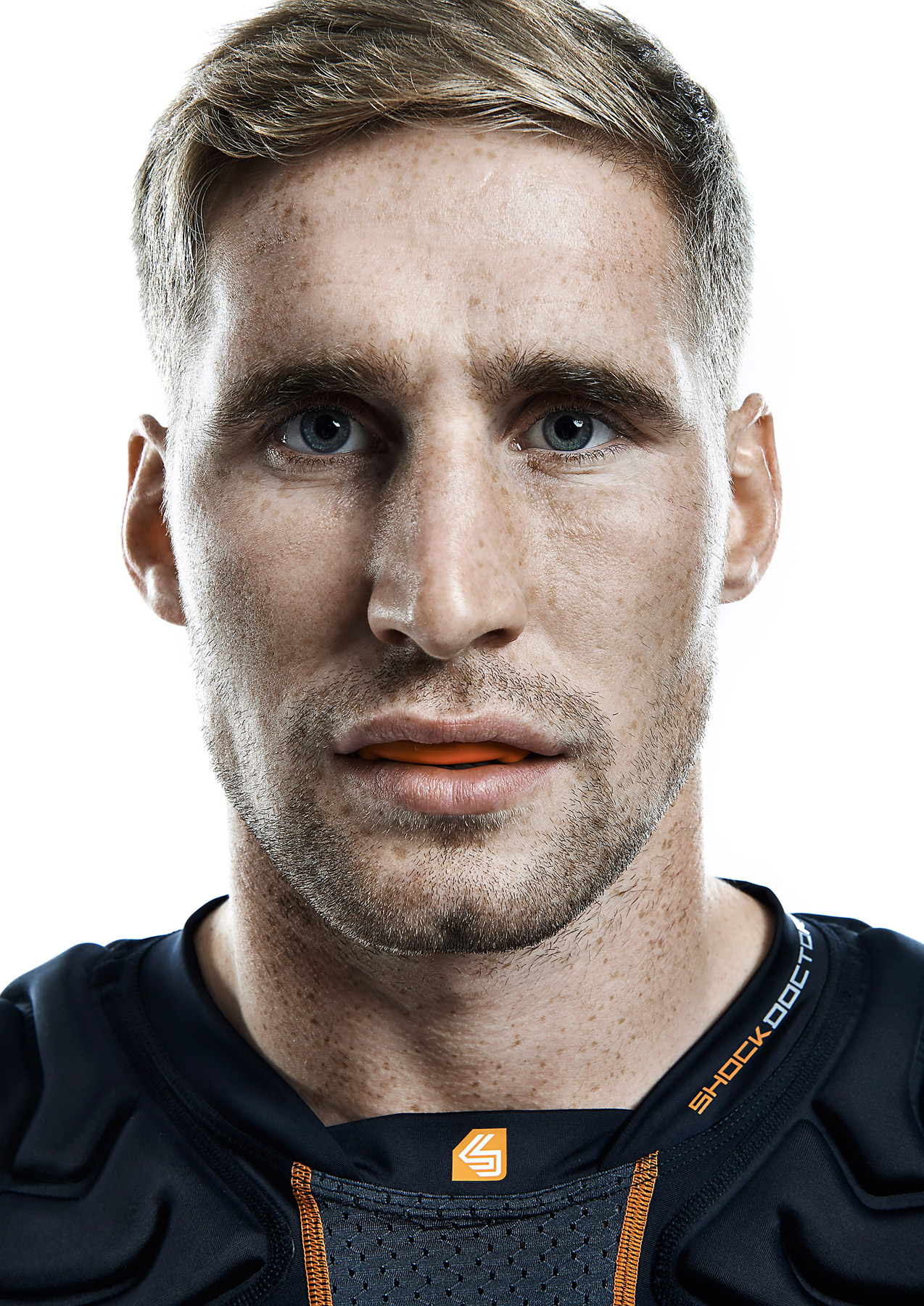Close up of Sam Tomkins wearing a gum shield