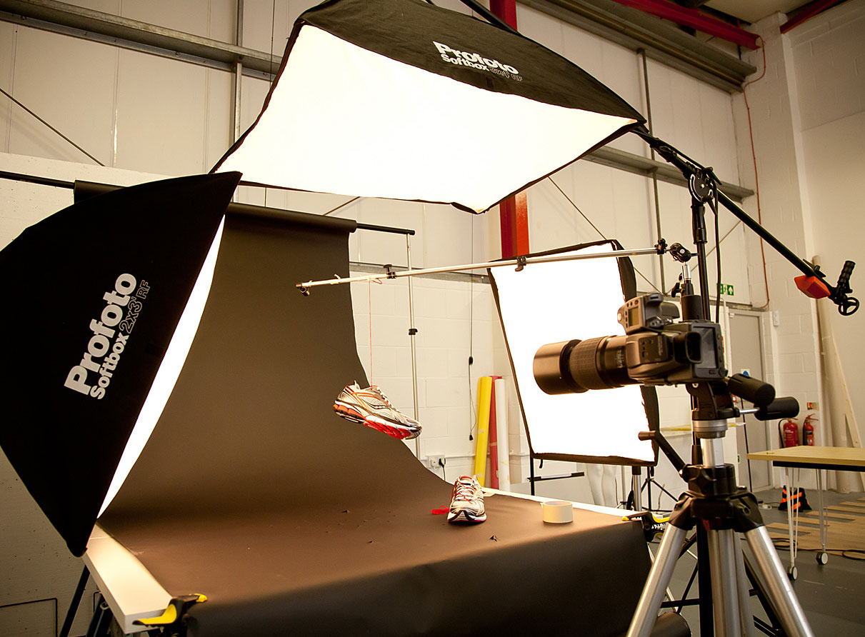 Showing the lighting setup for a trainer product photograph