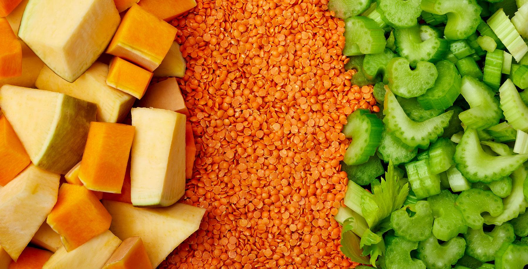 Butternut squash, lentils and celery