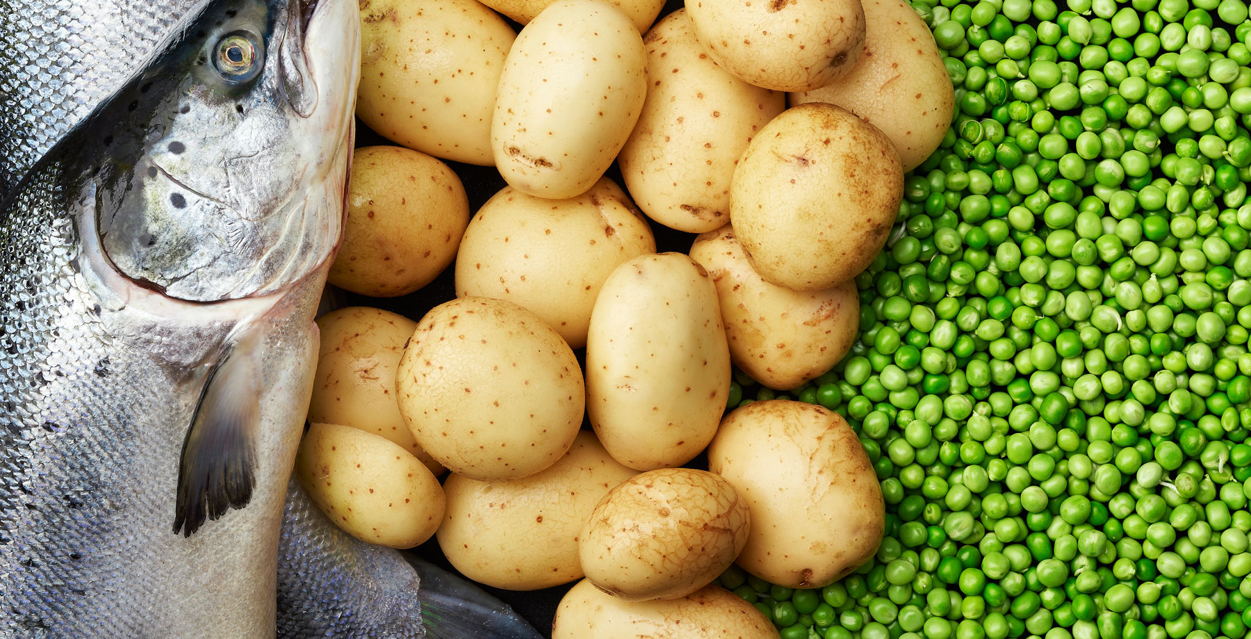 Salmon, potatoes and peas