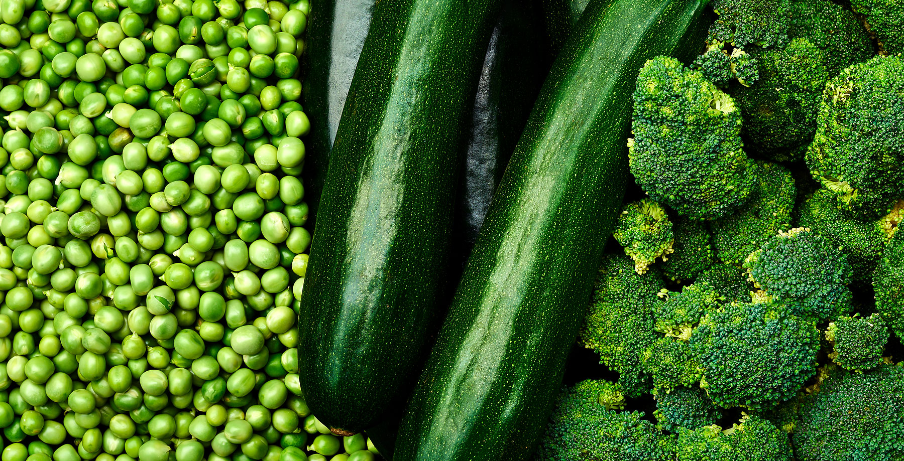 Peas, courgettes and broccoli