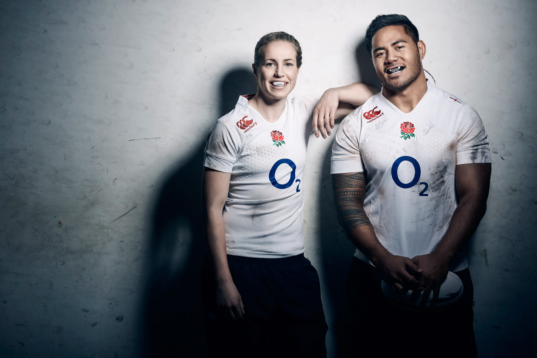 Manu Tuilagi and Emily Scarratt photographed for OPRO