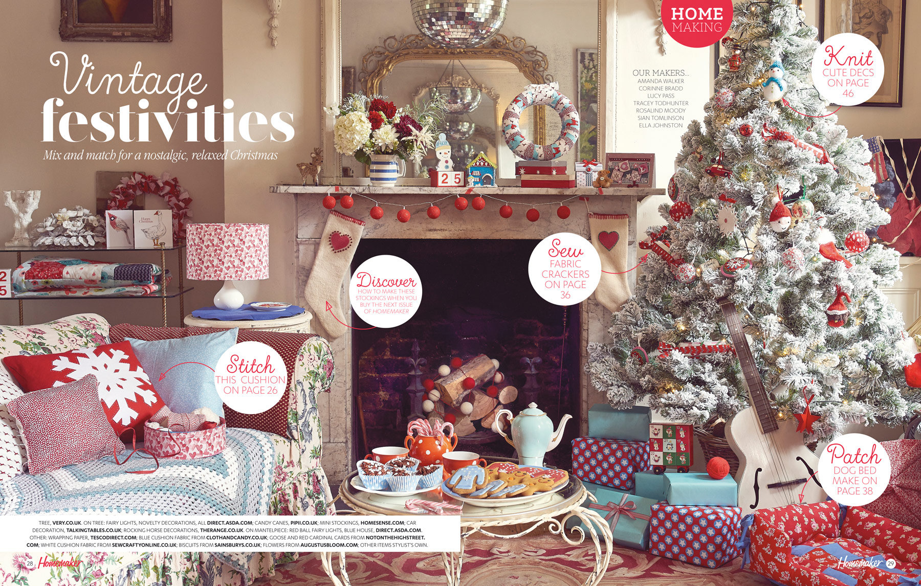 Cath Kidston inspired vintage Christmas living room