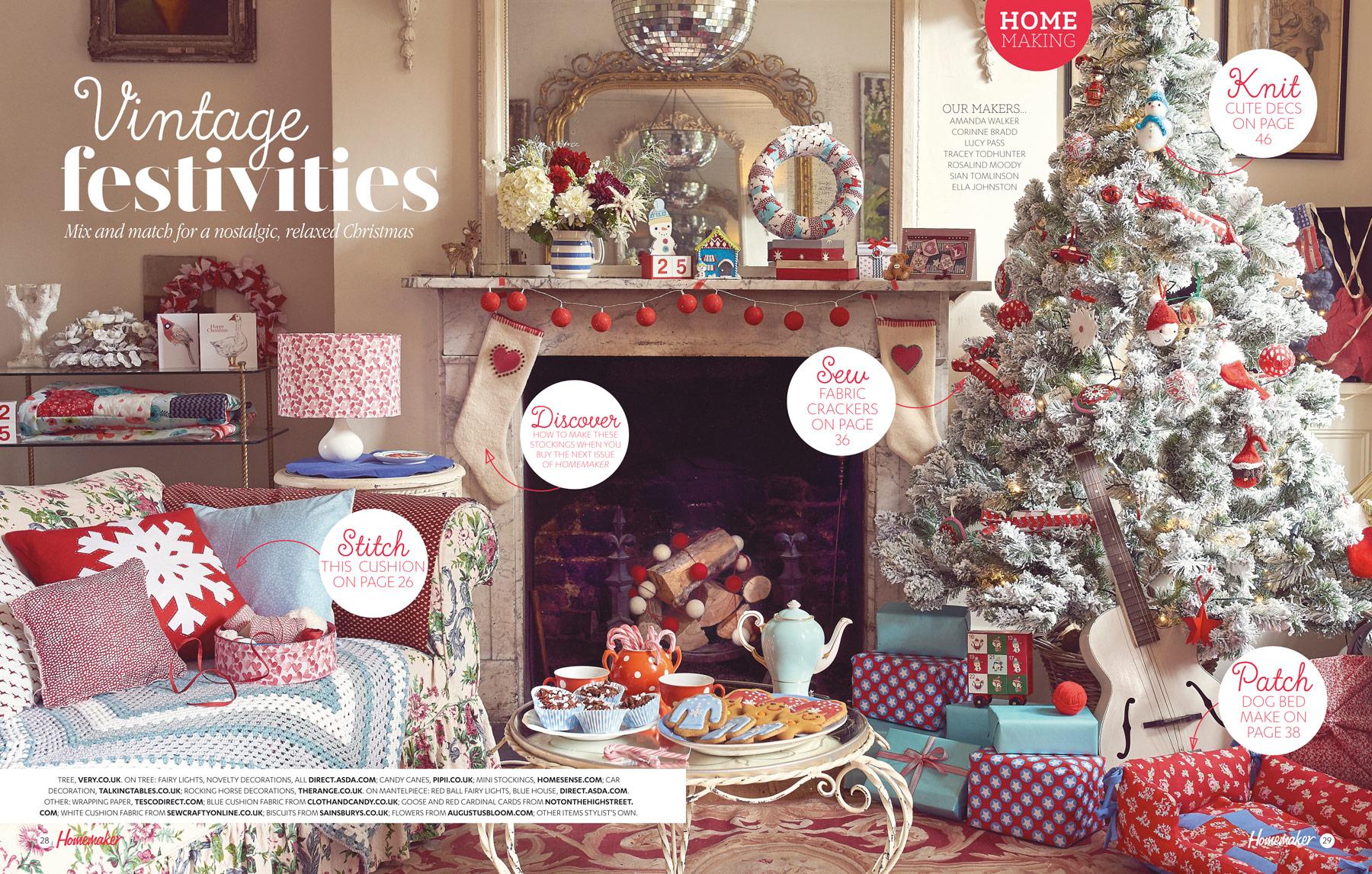 Cath Kidston inspired vintage Christmas living room