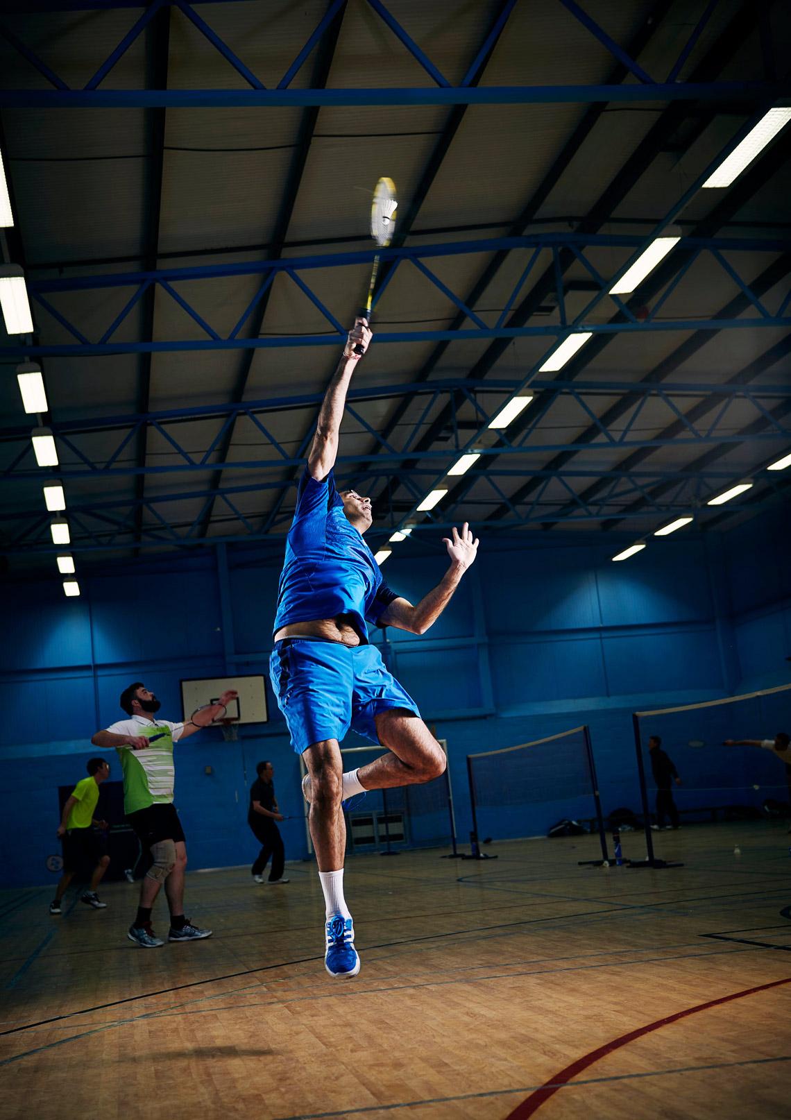 Badminton mid-air smash