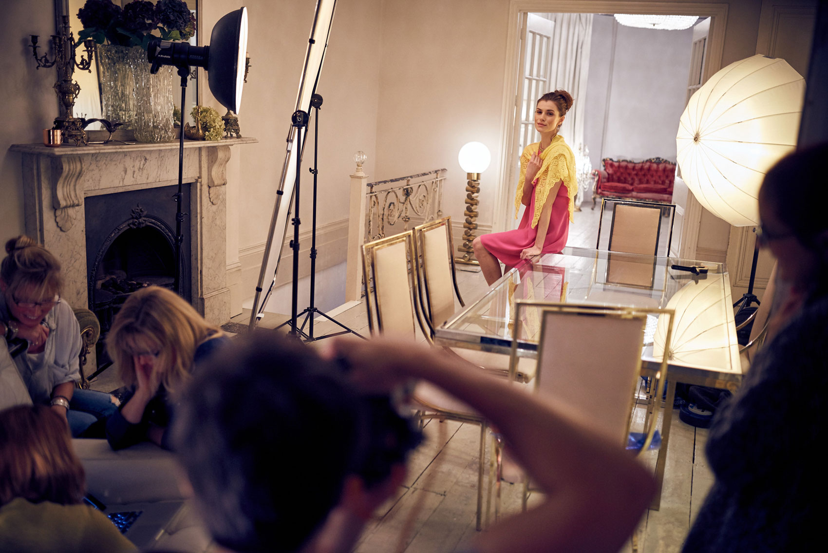 Behind the scenes on a vintage fashion shoot