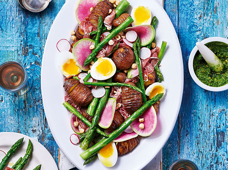 Asparagus, potato and egg salad