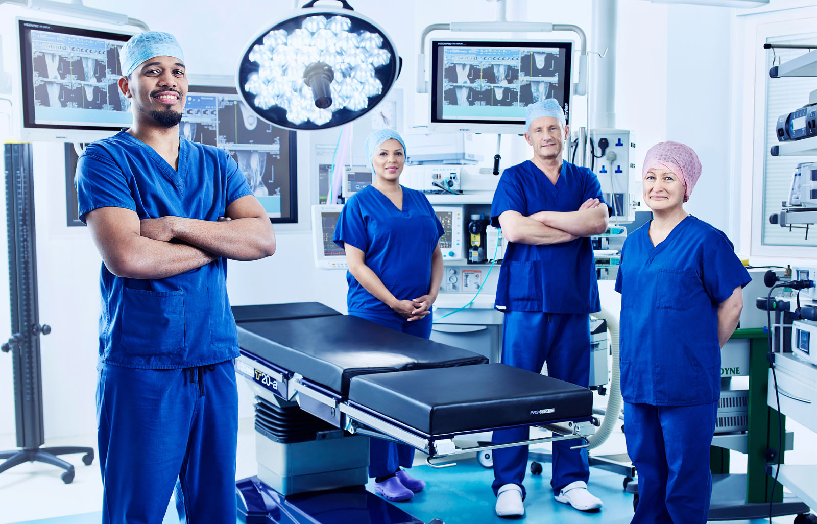 Surgeons in an operating theatre