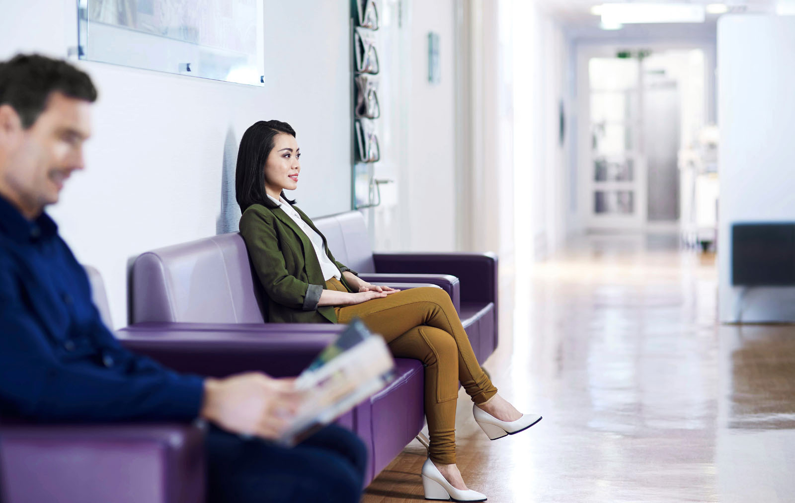 Patients in the waiting room at a private hospital