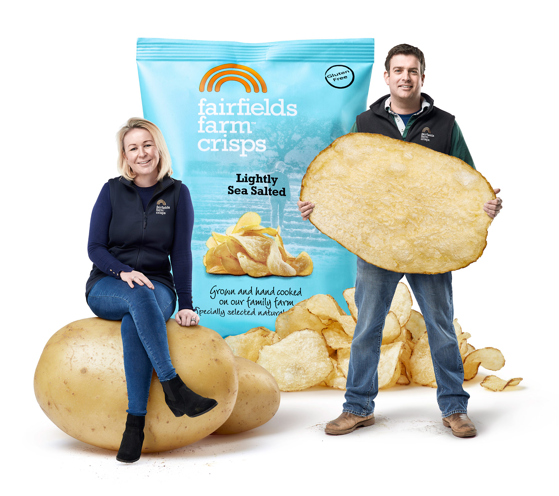 Fairfields farm crips producers Laura and Robert