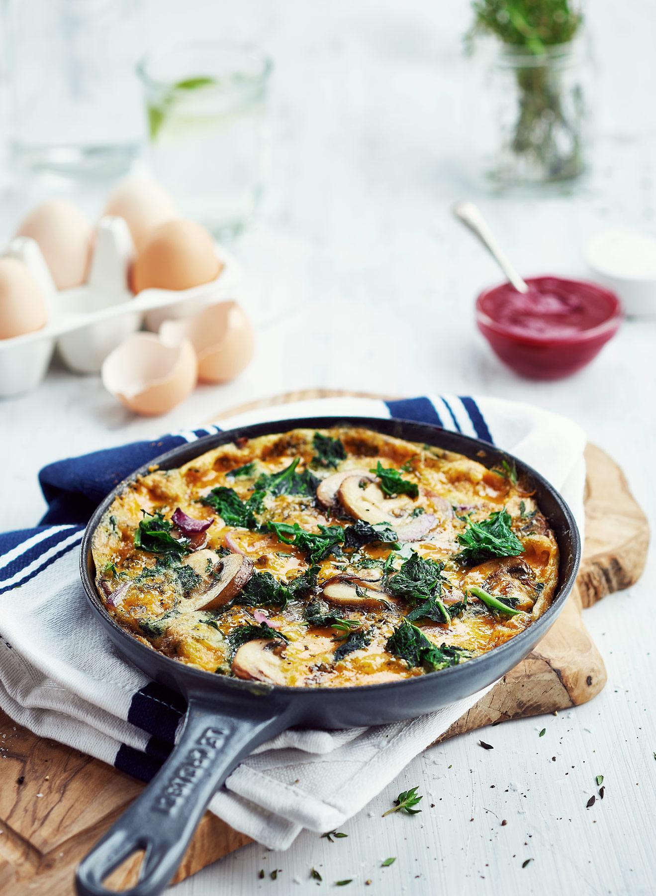 Kale and mushroom omlette