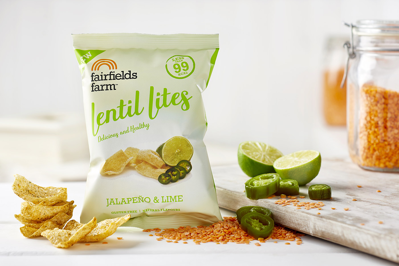 Fairfields Lentil Lites, jalapeno and lime flavour. Packshot by CliQQ Photography.