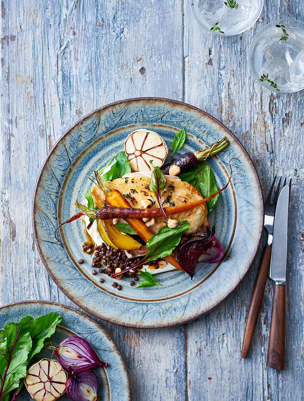 Roasted winter vegetable and chicken salad