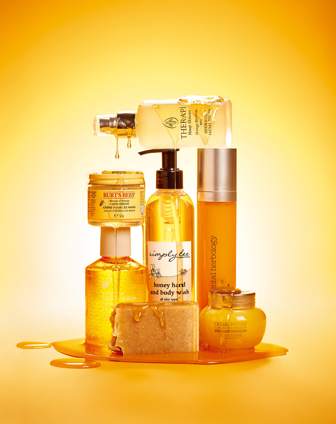 Honey related beauty products photographed by CliQQ Photography
