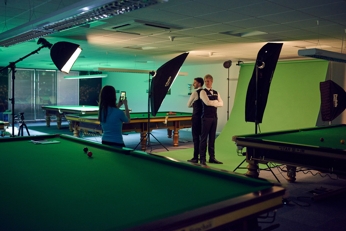 Behind the scenes with Judd Trump and Neil Robertson photographed by CliQQ Photography