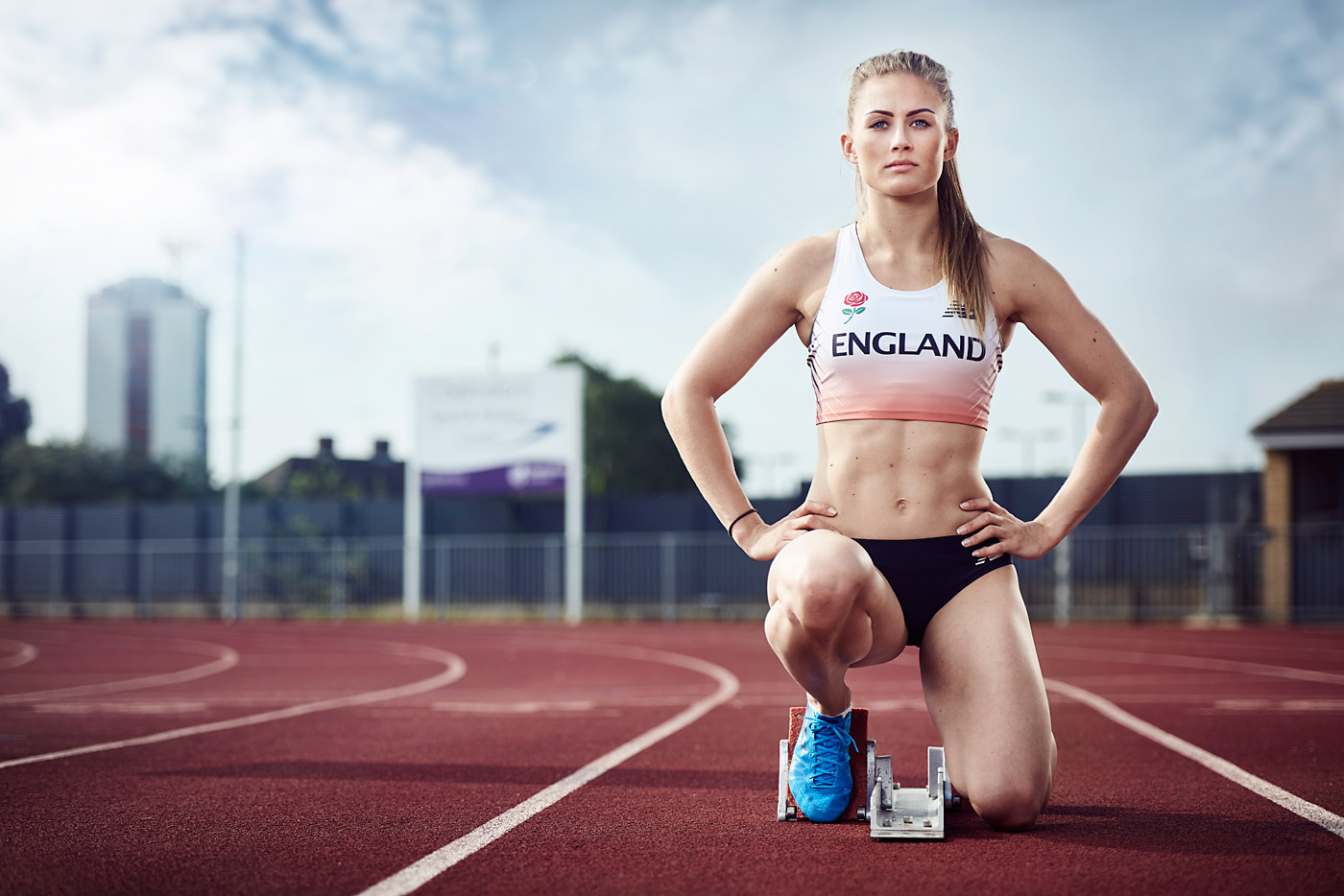 Rebecca Campsall in England running gear