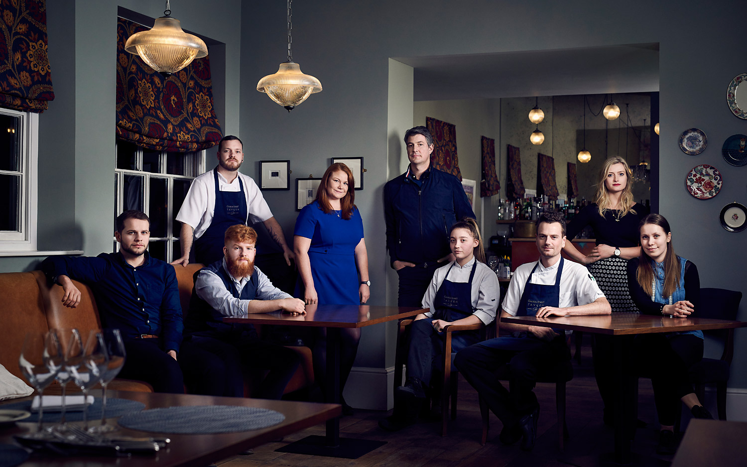Dramatic team photo for the Church Street Tavern restaurant in Colchester by CliQQ Photography