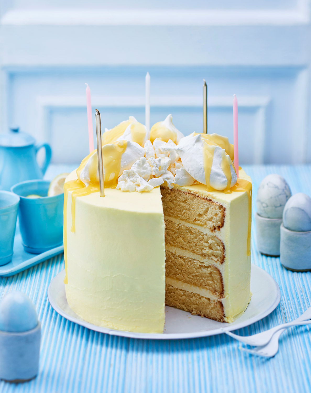Four layer lemon meringue cake
