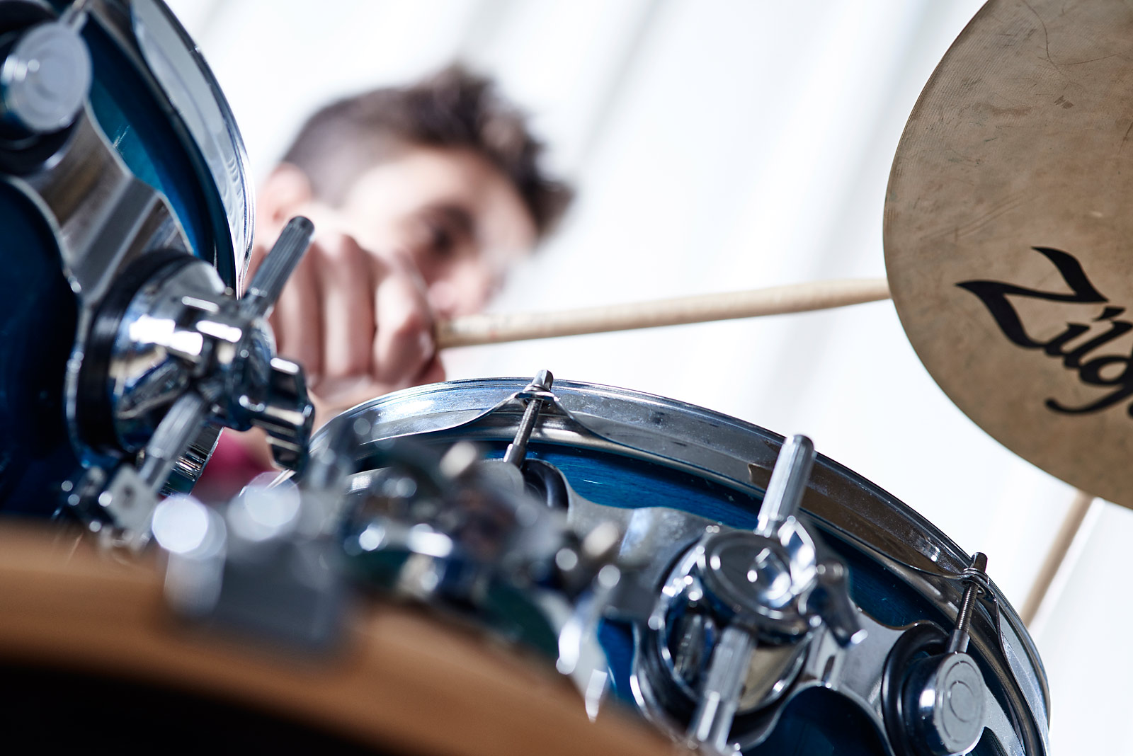 Close up of a drummer playing
