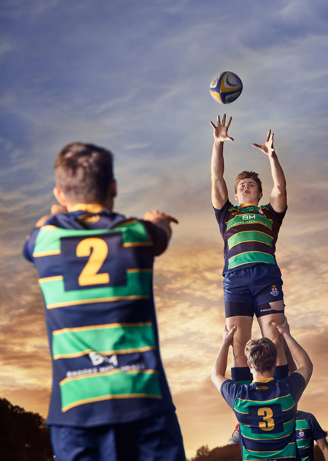 A boy jumps for a lineout during rugby training at the Royal Hospital School