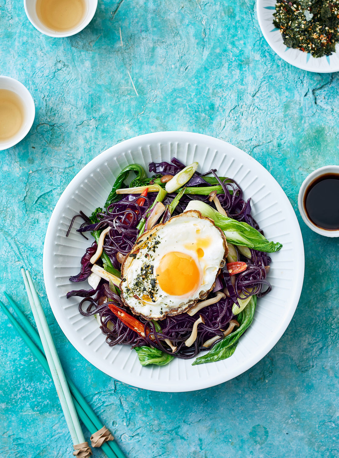 Asian Stir-Fry with black noodles and crispy nori