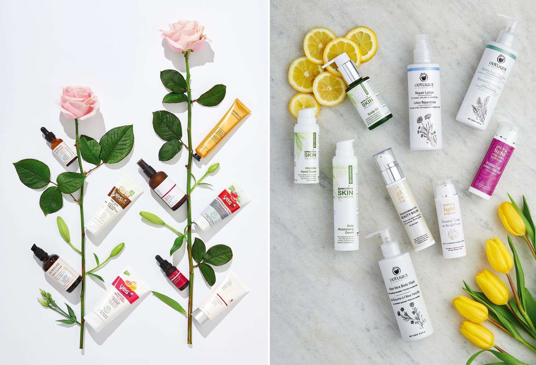 Overhead makeup product photos