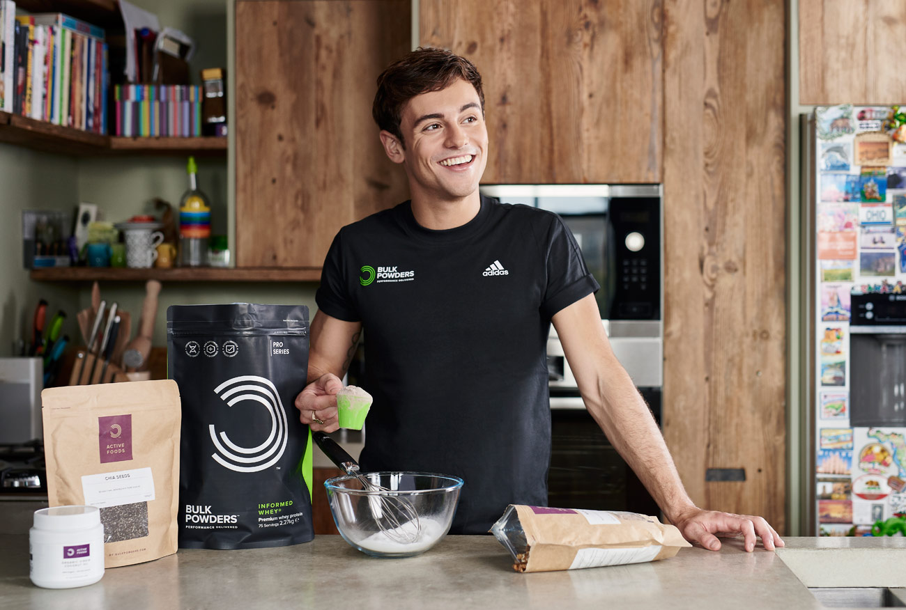 Tom Daley photographed for Bulk Powders
