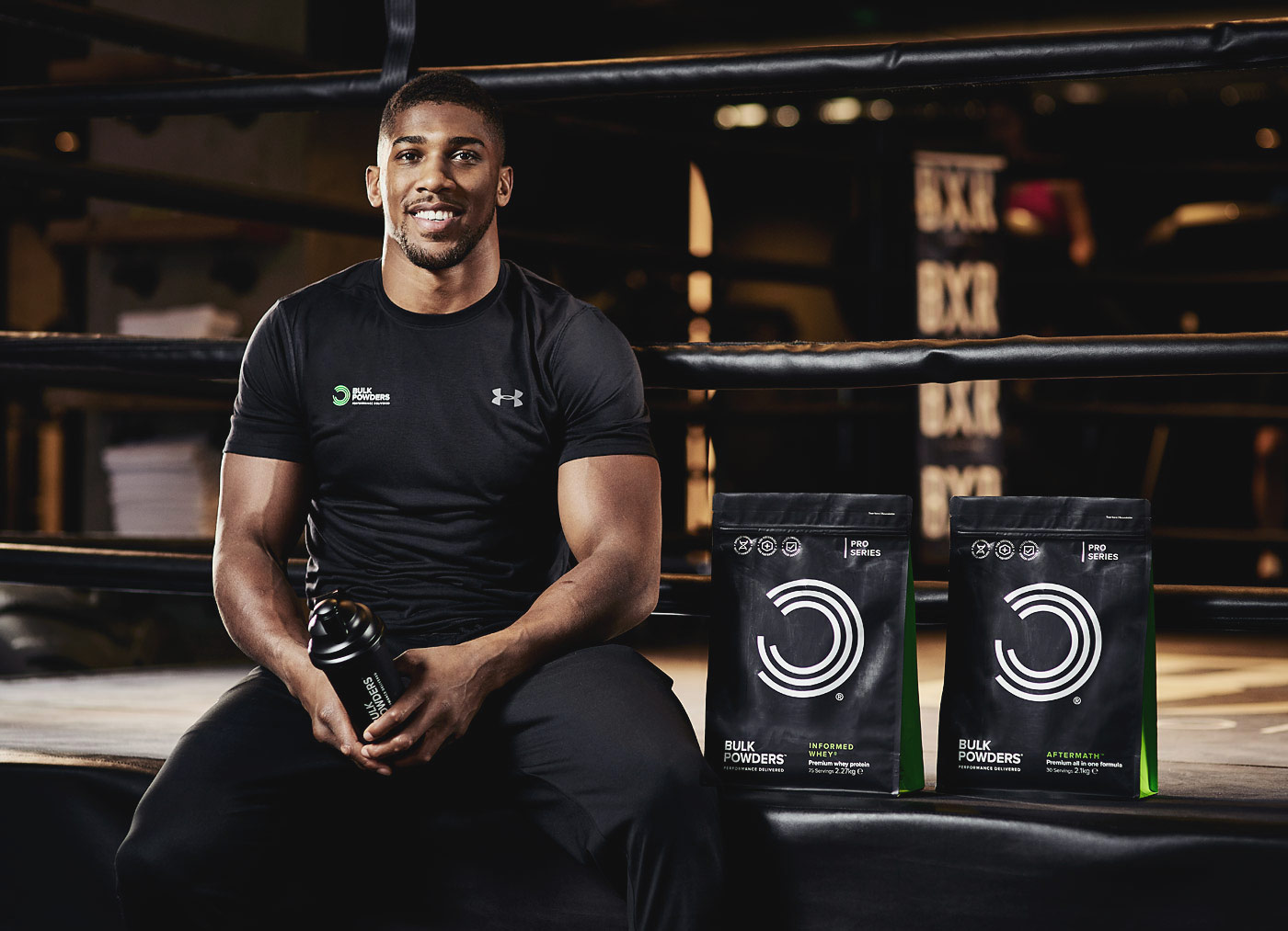 Anthony Joshua with Bulk Powders products