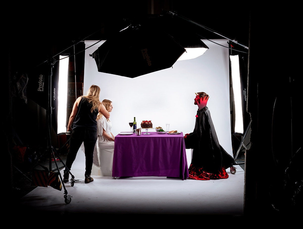 Behind the scenes on an advertising campaign shoot