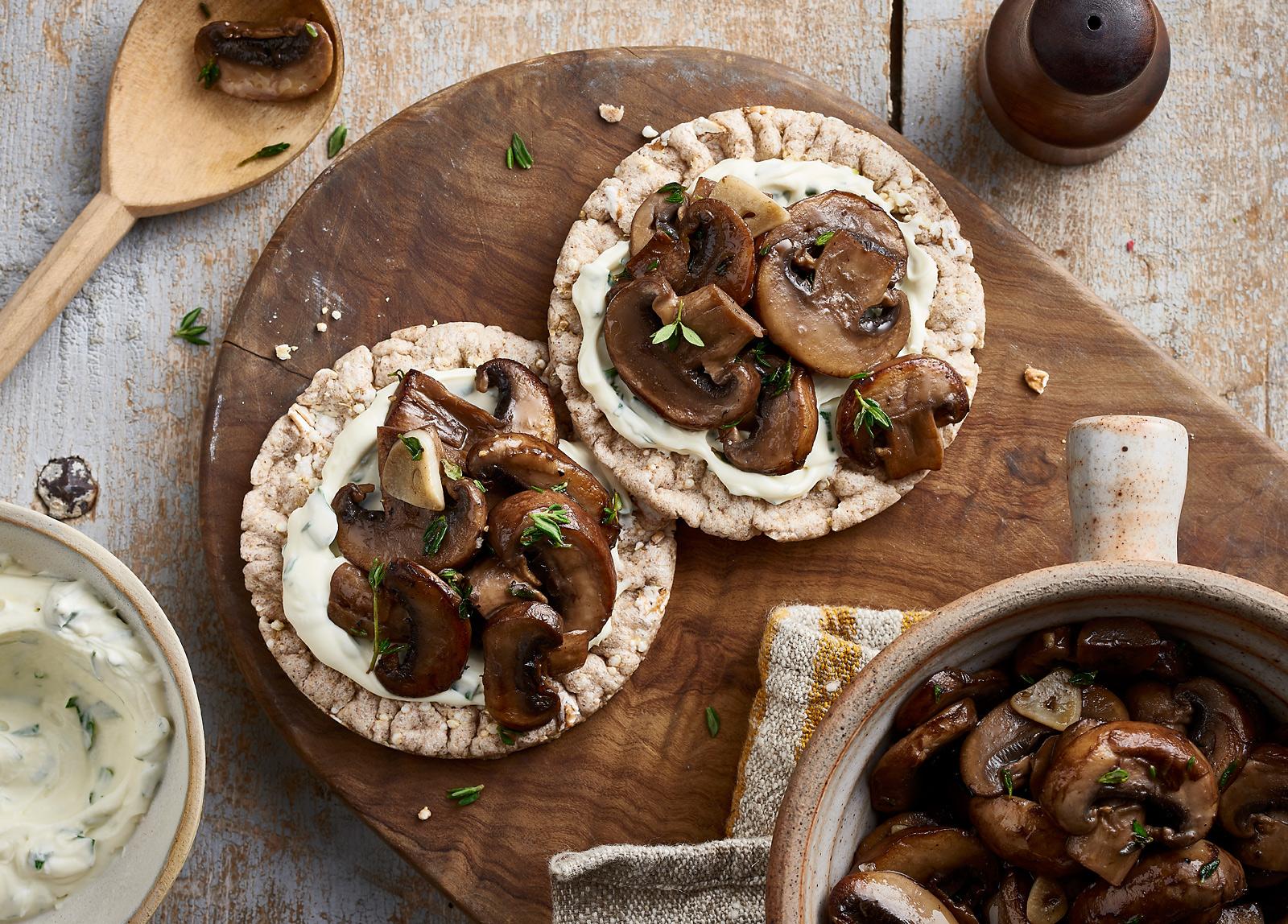 Garlic & Thyme Wild Mushrooms with Tarragon Crème Fraiche