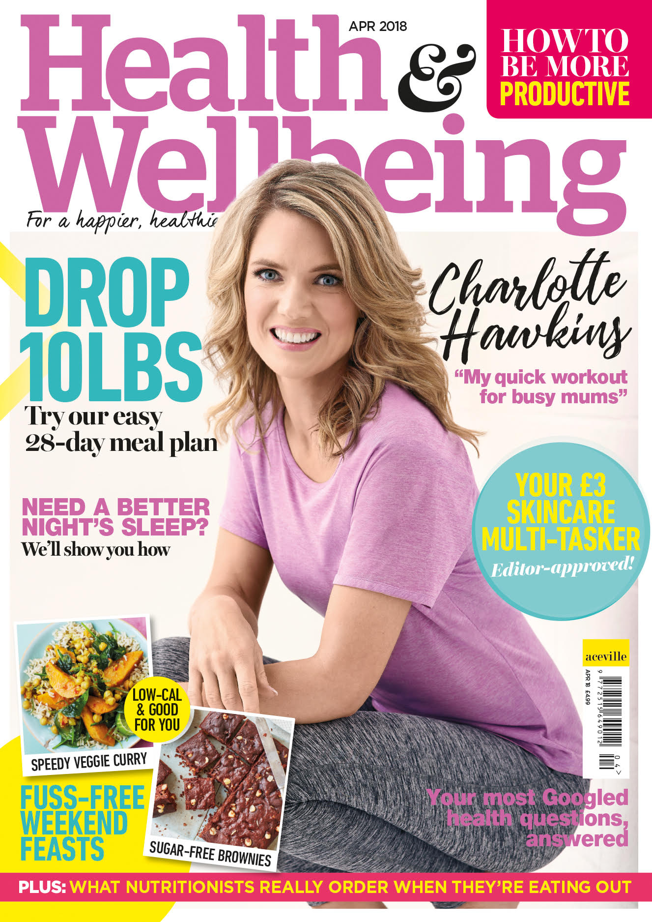 Charlotte Hawkins cover shoot for Health and Wellbeing Magazine