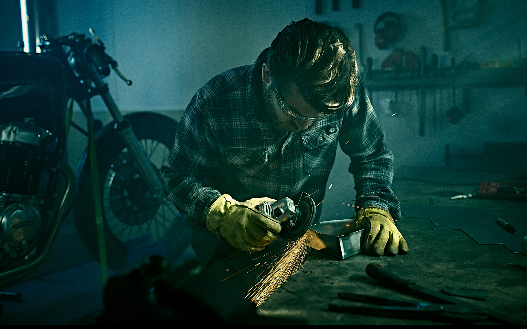 Working with the angle grinder at this craftsman photoshoot