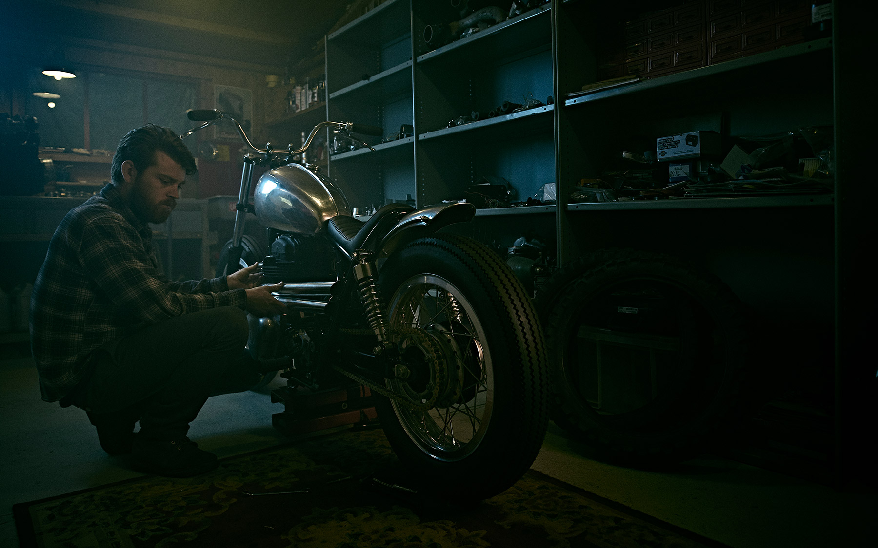 Fitting an exhaust at Inglorious Motorcycles