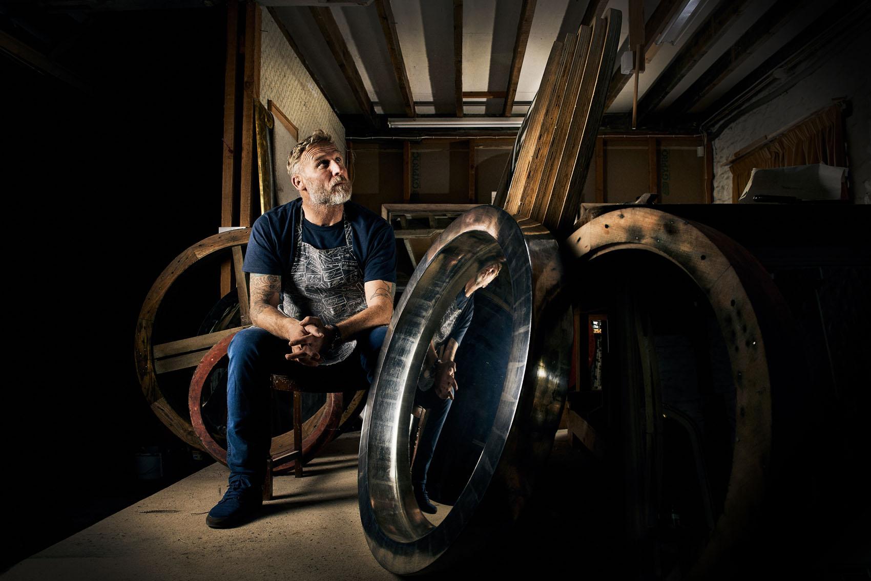 Sean Phelan in his gilding workshop