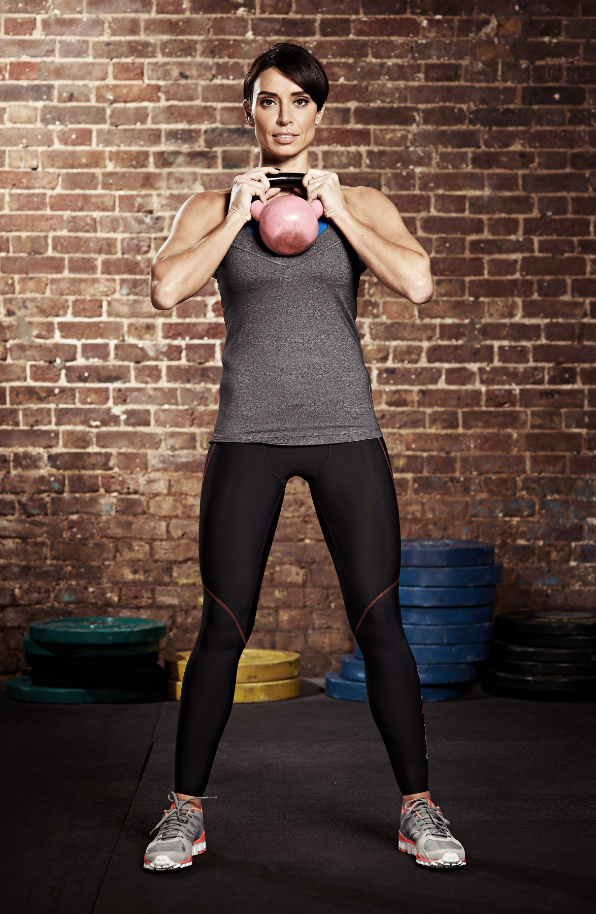 Christine Bleakley working out with a kettlebell