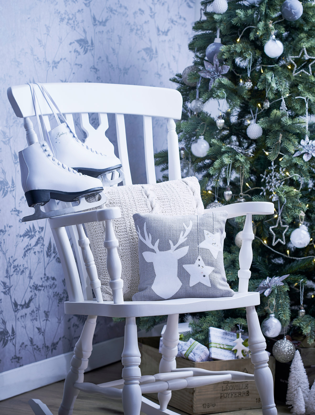 Rocking chair with Christmas tree
