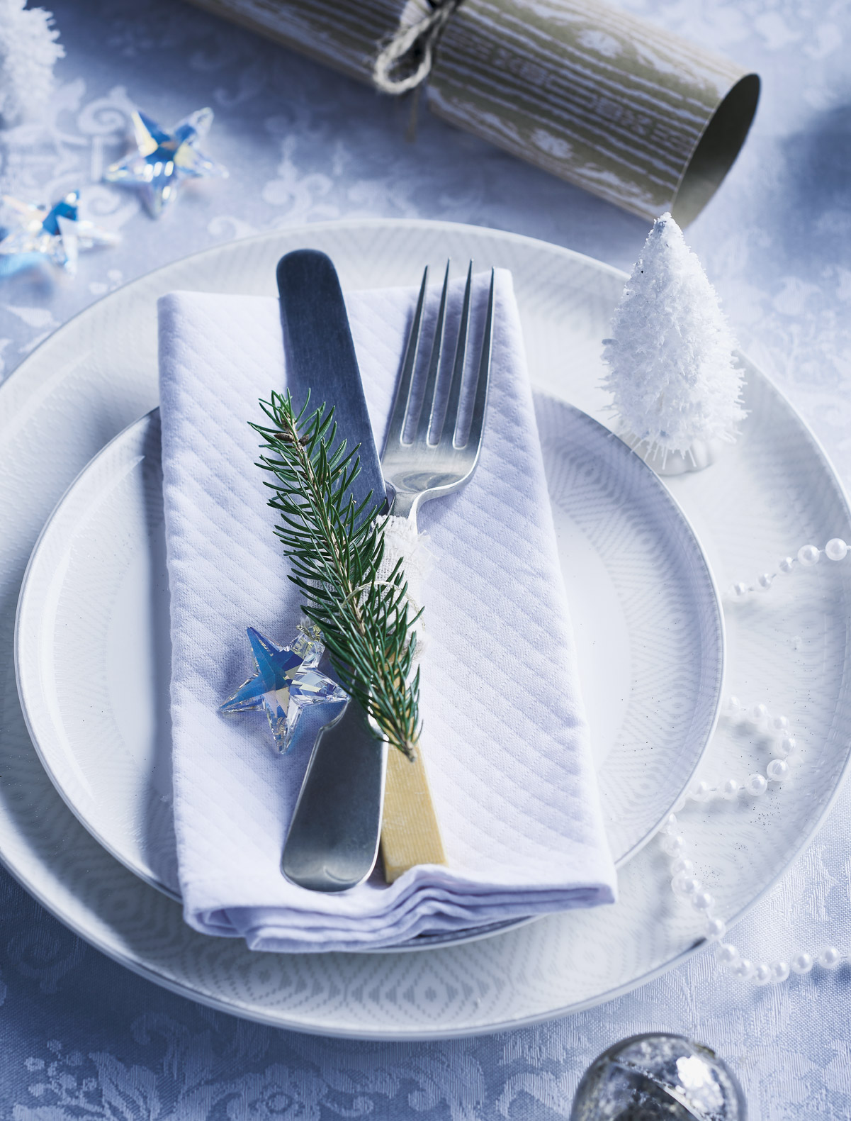 Christmas place setting from overhead