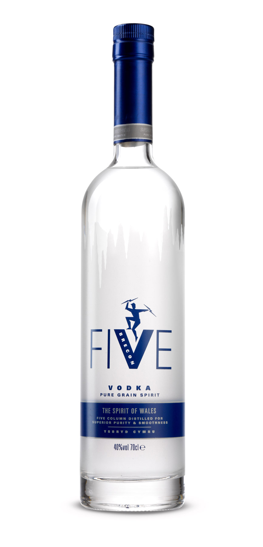 Five Vodka bottle photographed on a white background