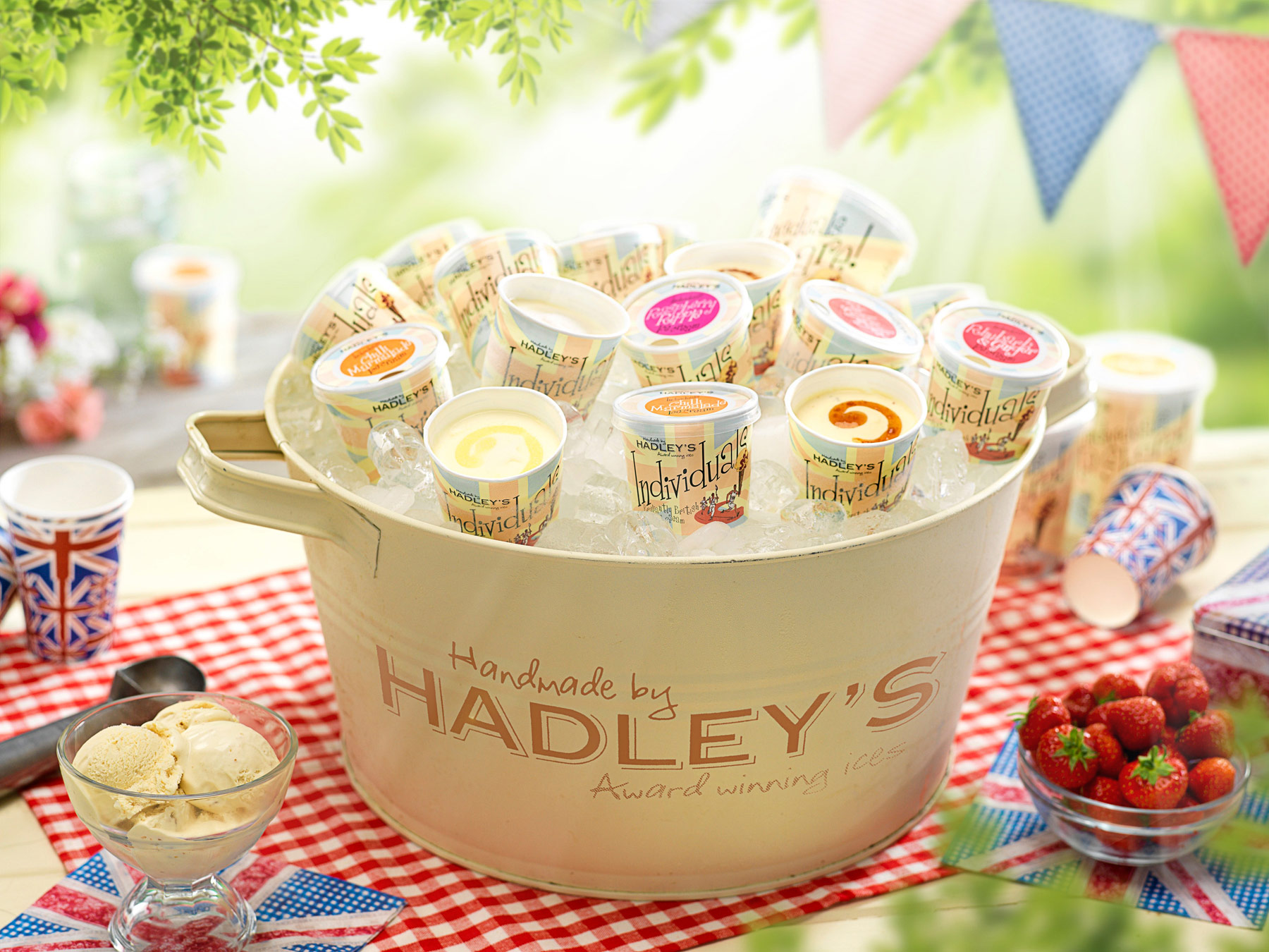 A large tub of Hadley's ice creams on a picnic table