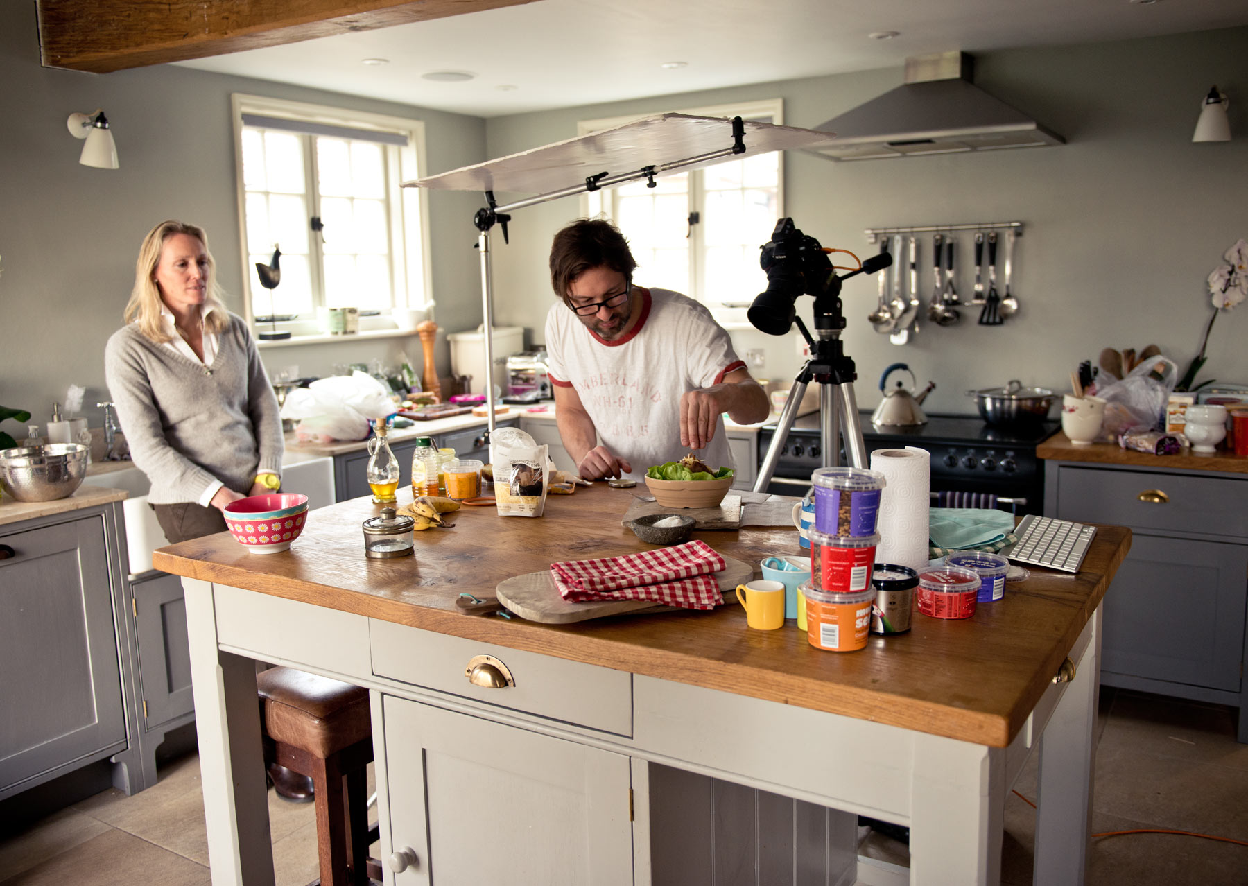 In the kitchen on a photoshoot for Munch Seeds by CliQQ Photography